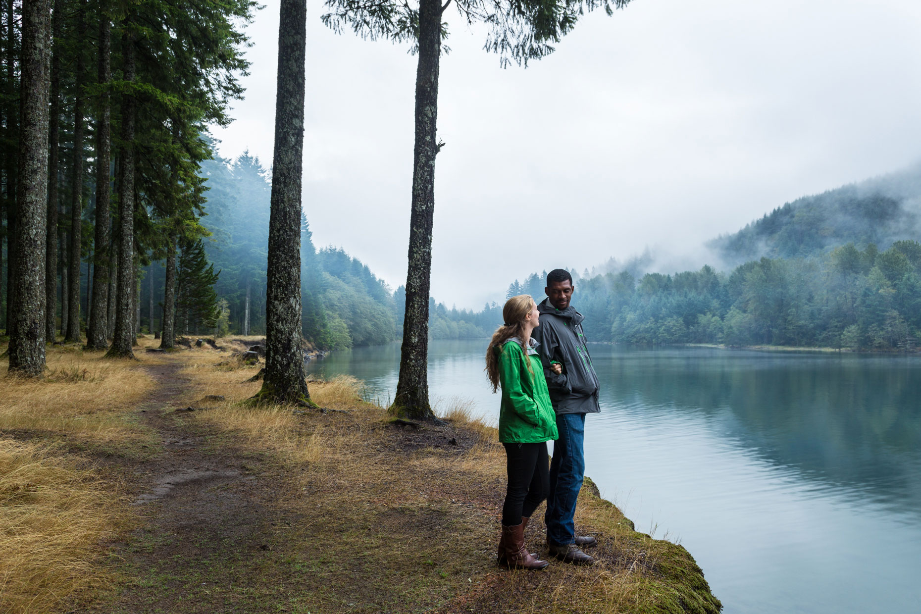 Misty lake couple
