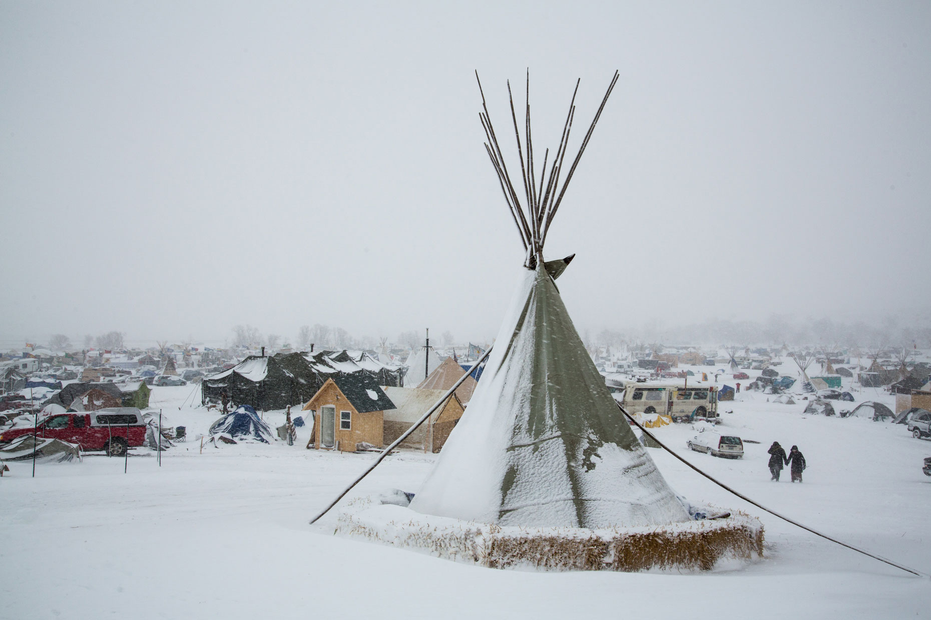 Standing Rock in a blizzard