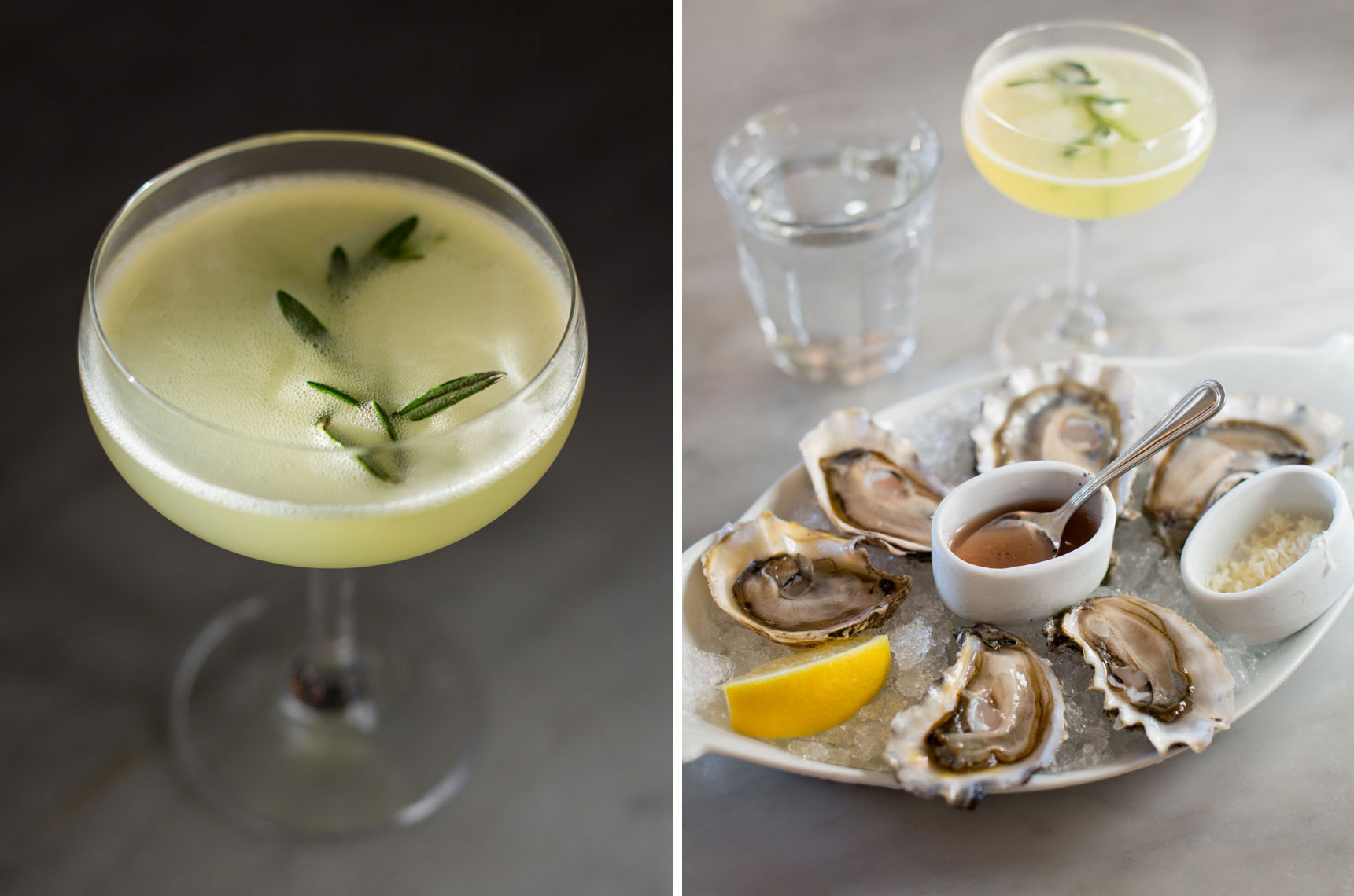 raw oysters and gin cocktail